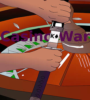 Roulette Wheel Samurai casino war by Casino Artist