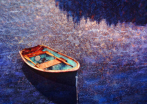 Rowing dinghy in Maine waters by Bryan Allen