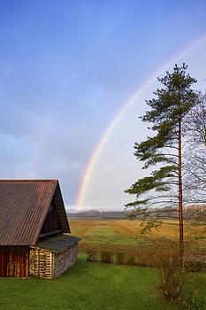 Rural Scene A Rainbow In The Sky by Jaak Nilson