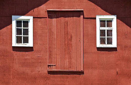 David Letts - Rustic Red Barn Door with Two White Wood Windows