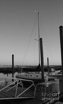 Sailboat in the sunset Black and White by Sherry Vance