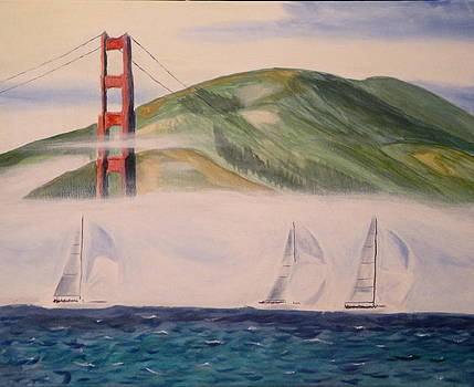 Sailboats under the Golden Gate by James Lopez