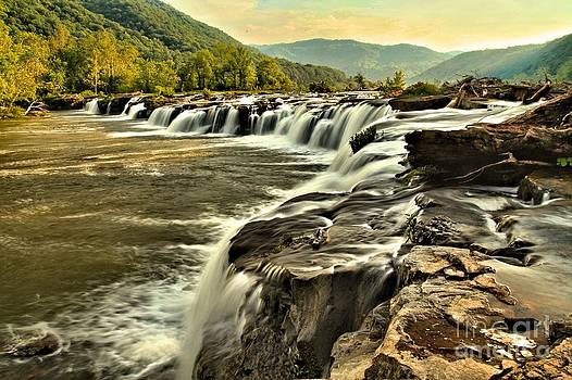 Adam Jewell - Sandstone Falls At Dusk