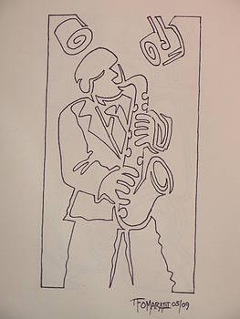 Sax Player In One Line by Thomas OMara