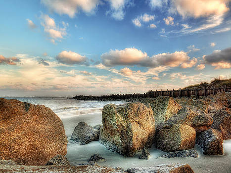 Shoreline Rocks and Fence Posts Folly Beach by Jenny Ellen Photography