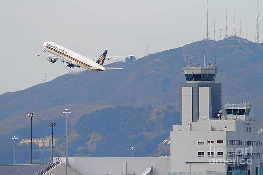 Wingsdomain Art and Photography - Singapore Airlines Jet Airplane Over The San Francisco International Airport SFO Air Control Tower