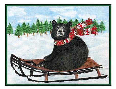 Sledding Bear by Marla Saville