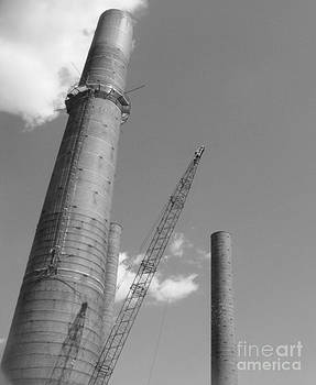 Smoke Stacks with Clouds and Crane by James Thomas