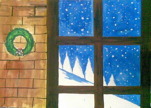 snow in Christmas window by Lalhmunlien Varte