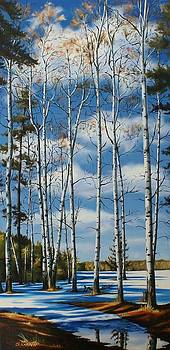 Christine Karron - Snowmelt Under Birches