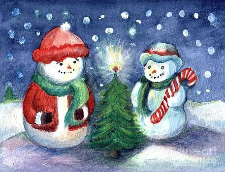 Snowmen on a Winter's Eve by Maureen Ida Farley