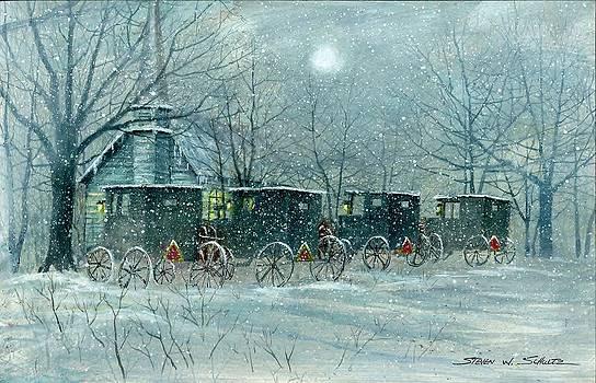 Snowy Carraiges by Steven W Schultz