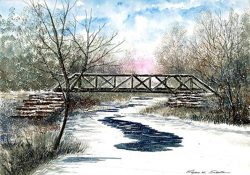 Snowy Train Bridge by Steven W Schultz