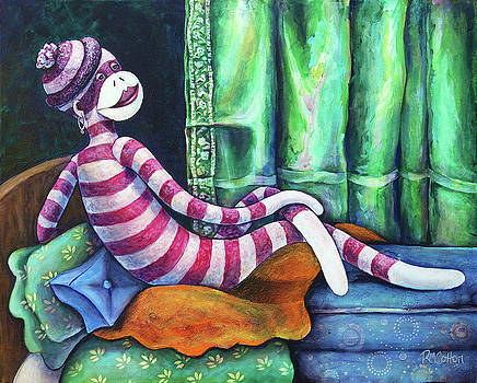 Sock Monkey Odalisque by Rachel M Cotton