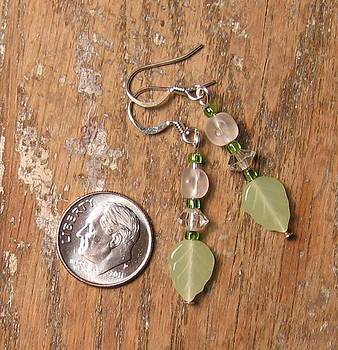 SOLD   Green Leaf Dangle Earrings by Elizabeth Carrozza