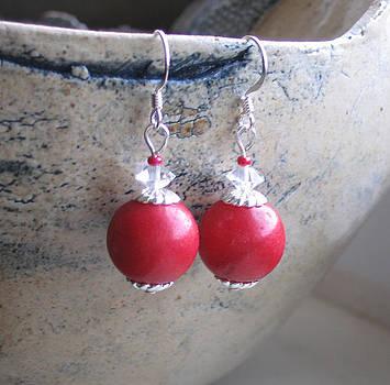 SOLD   Red Bead Earrings by Elizabeth Carrozza