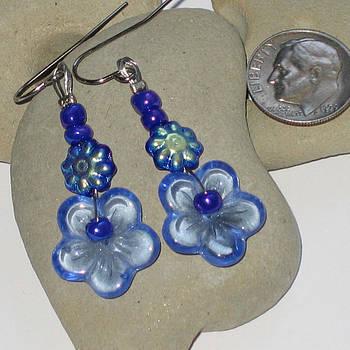 SOLD-Blue Flower Power Earrings by Elizabeth Carrozza