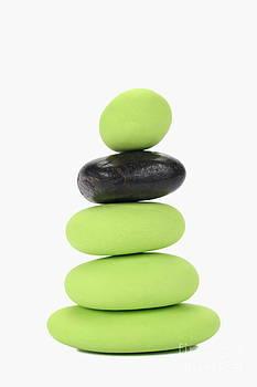 Sami Sarkis - Stack of green and black pebbles