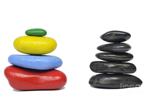 Sami Sarkis - Stack of multi-colored and black pebbles