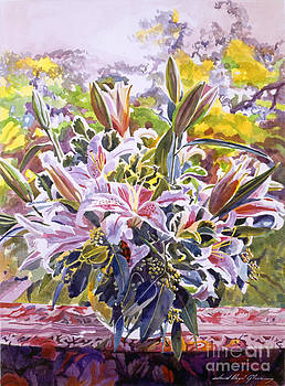 David Lloyd Glover - Stargazer Lilies In Glass Bowl