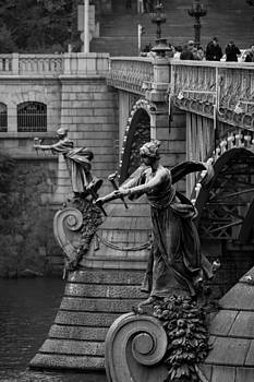 Statues on the Cechuv bridge Prague by Les Abeyta