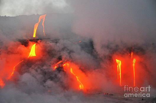 Sami Sarkis - Steam rising off lava flowing into ocean