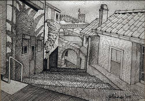 Stepped Ramp Porto Portugal by Lester Glass