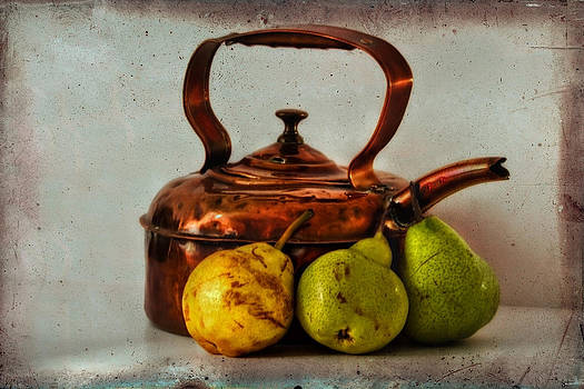Still life with copper kettle and pears by Sandra Pledger