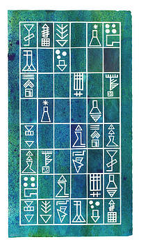 Sumerian Text In Green by Paul Greco