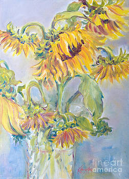 Sunflowers in a Crystal Vase by Kathy Harker-Fiander