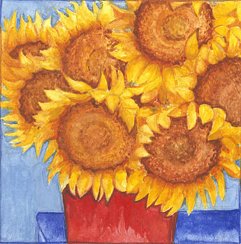 Sunflowers in Red Bucket by Barbara Esposito