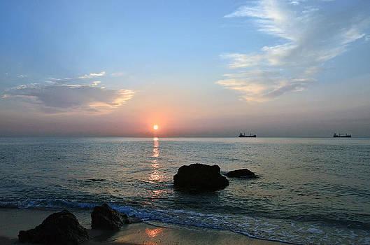 Sunrise Calm Sea Ships by Ken  Collette