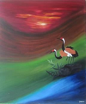 Sunset-Oil Painting by Rejeena Niaz