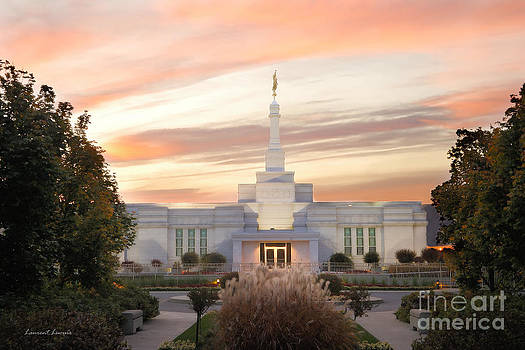Sunset on LDS Montreal Temple by Laurent Lucuix
