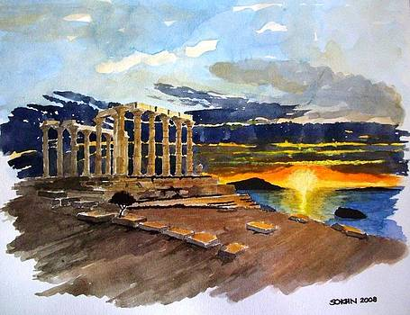 sunset on Poseidon temple by Samir Sokhn