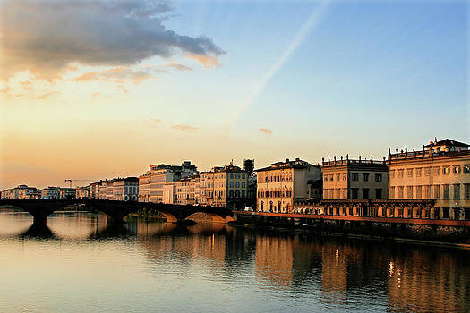 Sunset on the Arno 2 by Vicki Hone Smith