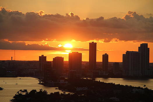 sunset over Miami 3 by Ronald  Bell