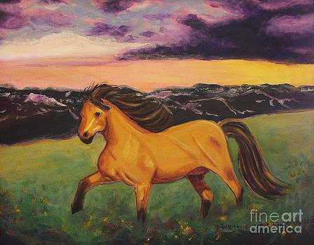 Sunset with Golden Horse by Suzanne  Marie Leclair