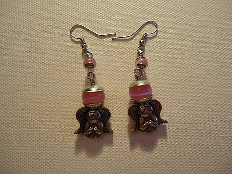 Sweet Pink Angel Earrings by Jenna Green