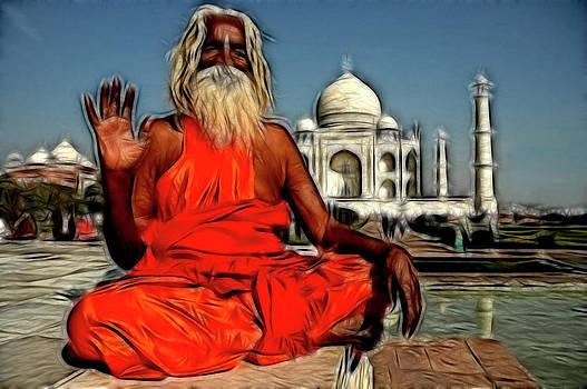 Taj Mehal With Pilgrim  by Ratan Sonal