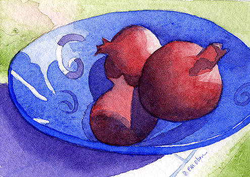 Three poms in blue bowl by Eunice Olson