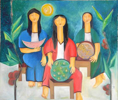 Three Women Vendors by Miriam Besa