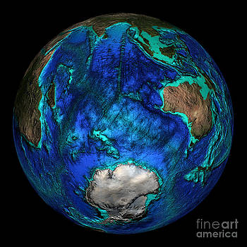 Science Source - Topographical Map Of Coordinates 45 S