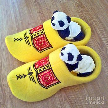 Travelling Pandas Series. Dutch Weekend. Cozy Dutch Clogs. Square format by Ausra Huntington nee Paulauskaite