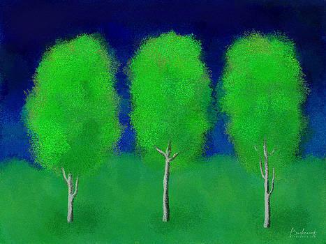 Trees in Triplicate Spring by Robin Lewis