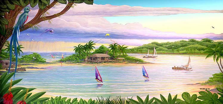 Tropical Cove Acrylic Painting filtered by Duane McCullough