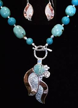 Turquoise Copper and Silver Flower Pendant by Dyan  Johnson