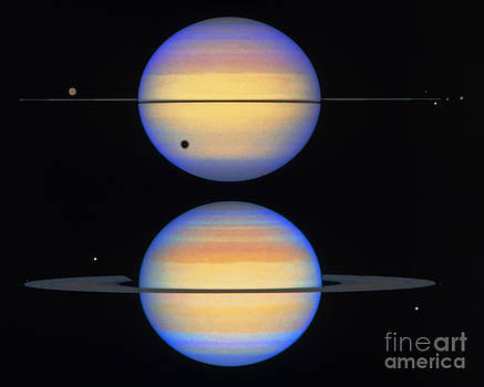 Space Telescope Science Institute / NASA - Two Views Of Saturn, Its Ring And Moons