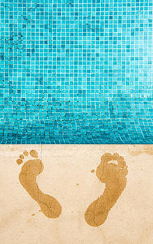 Two Wet Human Footprints  Prints Of Two by Corepics