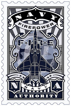 UMGX Vintage Studios Navy Firepower Illustrated Stamp Art by David Cook  Los Angeles Prints